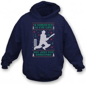 A Cricketer Is For Life, Not Just For Christmas Kids Hooded Sweatshirt