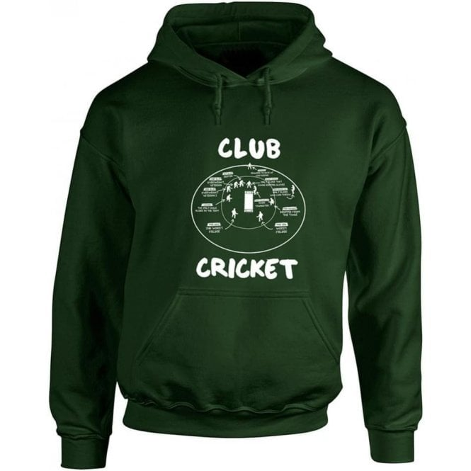 Club Cricket (Fielding Positions) Hooded Sweatshirt