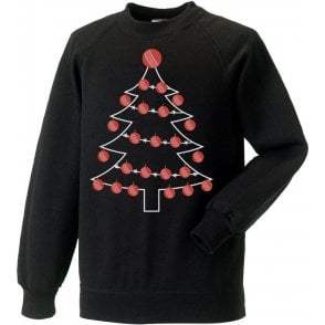 Cricket Ball Christmas Tree Kids Sweatshirt