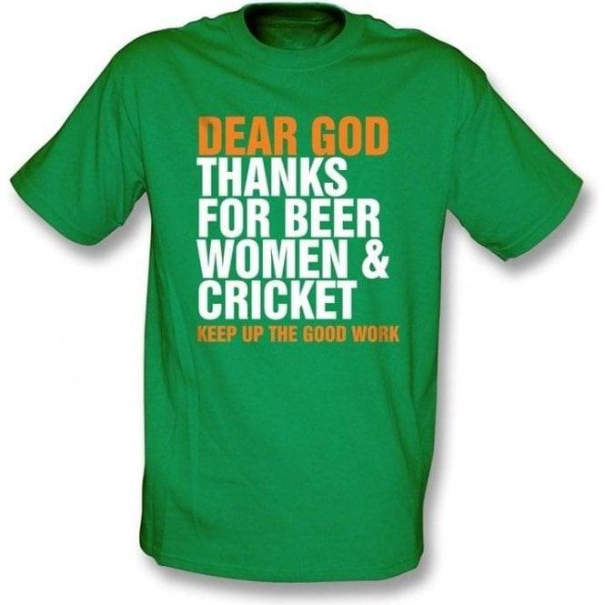 Dear God Thanks For Beer Women & Cricket  T-shirt