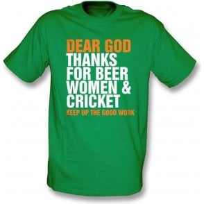 Dear God Thanks For Beer Women & Cricket  T-shirt
