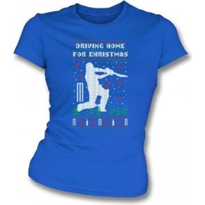 Driving Home For Christmas (Cricket) Womens Slim Fit T-Shirt