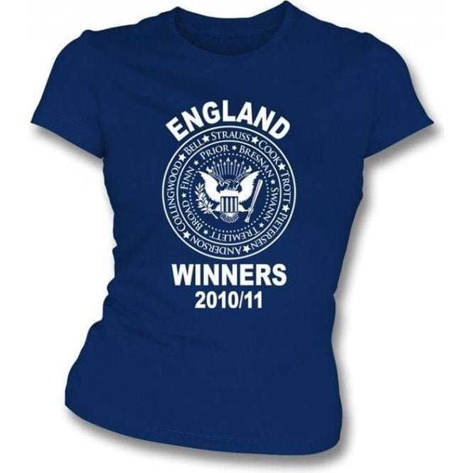 England Ashes Winners 2010/11 (Ramones Style) Navy Ladies Slimfit t-shirt