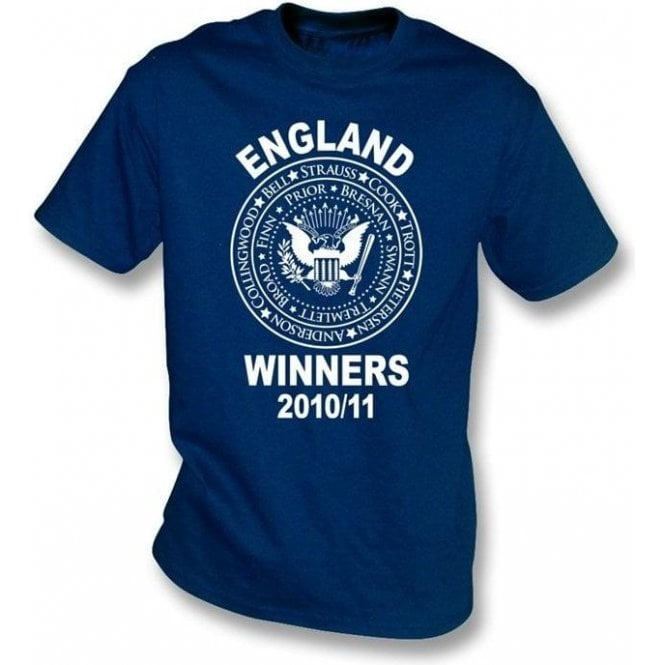 England Ashes Winners 2010/11 (Ramones Style) Navy t-shirt