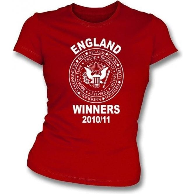 England Ashes Winners 2010/11 (Ramones style) Red Ladies Slimfit t-shirt
