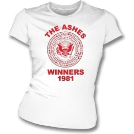 England The Ashes Winners 1981 Ramones Style Womens Slim Fit T-Shirt