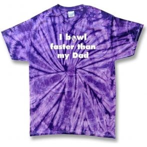 I Bowl Faster Than My Dad Kid's Tie Dye T-shirt