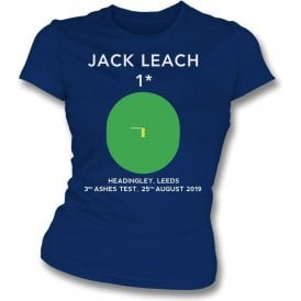 Jack Leach 1 Not Out (Headingley 2019) Womens Slim Fit T-Shirt