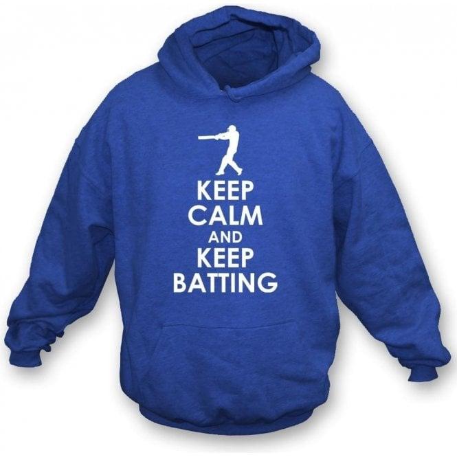 Keep Calm And Keep Batting Kids Hooded Sweatshirt