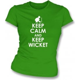 Keep Calm And Keep Wicket Womens Slim Fit T-Shirt