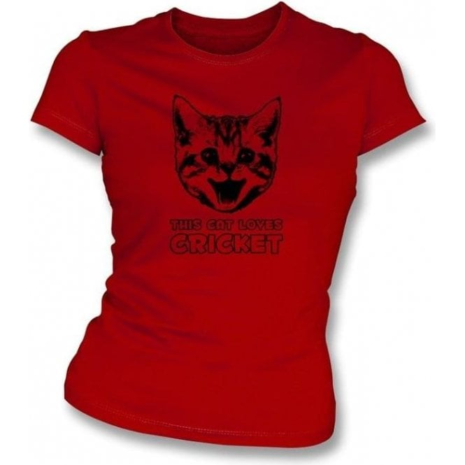 This Cat Loves Cricket Womens Slimfit T-Shirt